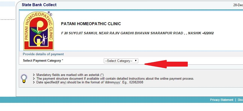 Patani Homeopathic Clinic Payment Category
